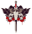 emblem with skulls sword roses and wings vector image