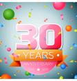 Thirty years anniversary celebration background vector image