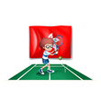 The flag of Hongkong with the tennis player vector image vector image