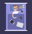 new technologies addiction young nerd sleeping vector image