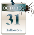 Halloween calendar with spider vector image