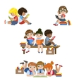 Kids Reading Books Set vector image