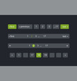 pagination bars color dark blue and green vector image
