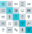 icons set collection of cctv usb socket and vector image