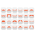 Ginger moustache or mustache buttons set vector image vector image