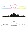 Rochester skyline linear style with rainbow vector image