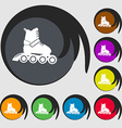 roller skate icon Symbols on eight colored buttons vector image