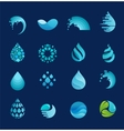 set of water wave and drop icons symbols vector image