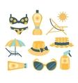 Beach Vacation Travelling Kit Set vector image