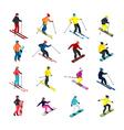 Skiing isometric set vector image