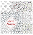 Cartoon faces seamless pattern background vector image vector image