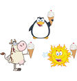 Cartoon animals with ice cream vector image vector image