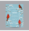 Winter Birds Frame or Card - in Watercolor Style vector image