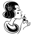 beautiful woman with cake vector image vector image