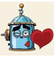 emoticon love kiss emoji robot head smiley emotion vector image