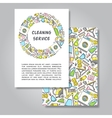 Two sides invitation card design with cleaning vector image