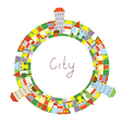 Cartoon of city circle frame with funny houses vector image