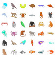 different animals icons set cartoon style vector image