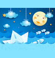paper boat at night vector image