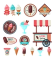 Vintage ice cream label set template vector image