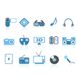 media entertainment icons blue series vector image vector image