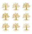 Golden decorative trees like olive and oak ash vector image