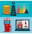 Petroleum industry and oil prices graphic vector image