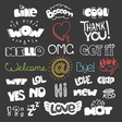 Different sketch style words collection on dark vector image
