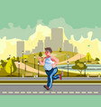 man running in the park and sweating to lose vector image