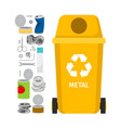 yellow garbage can with metal trash vector image