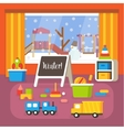 Kindergarten classroom at winter preschool room vector image