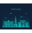 Naples skyline silhouette linear style vector image