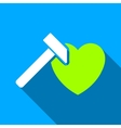 Heart Hammer Flat Long Shadow Square Icon vector image