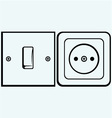 Single light switch and socket vector image