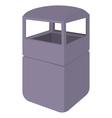 Grey empty steel bin icon cartoon style vector image