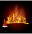 burning firefighter axe icon with fire flame vector image