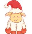 Cartoon sheep wearing santa hat vector image