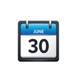June 30 Calendar icon flat vector image vector image