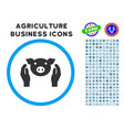pig care hands rounded icon with set vector image