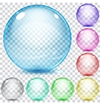 Set of multicolored transparent glass spheres vector image