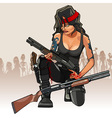 cartoon girl warrior with a weapon vector image