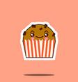 cute kawaii cupcake funny emoticon face icon vector image