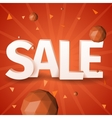 Sale text with triangle sphere on red background vector image