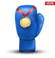 Sport gold medal with ribbon for winning boxing vector image