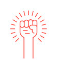 thin line red hand up icon vector image