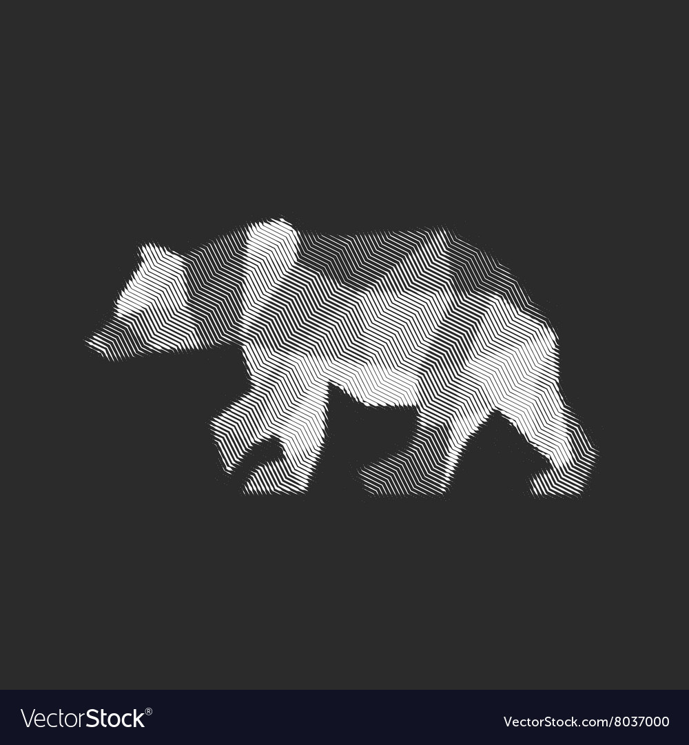 Bear polygon animals engraved fully vector