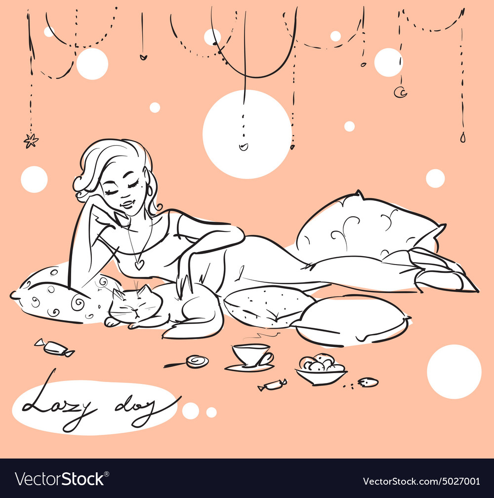 Pretty woman on a sofa or bed vector