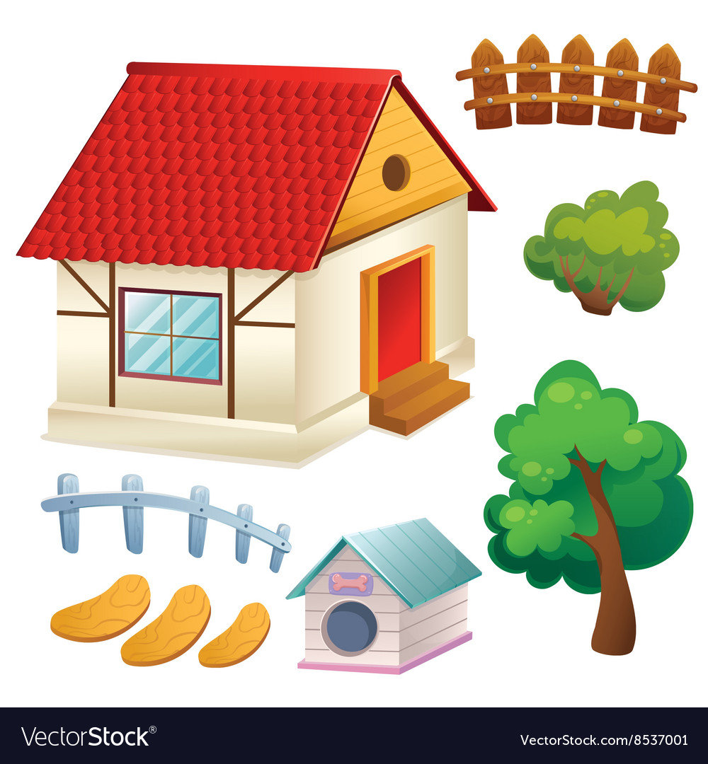 Set of house trees and fence vector