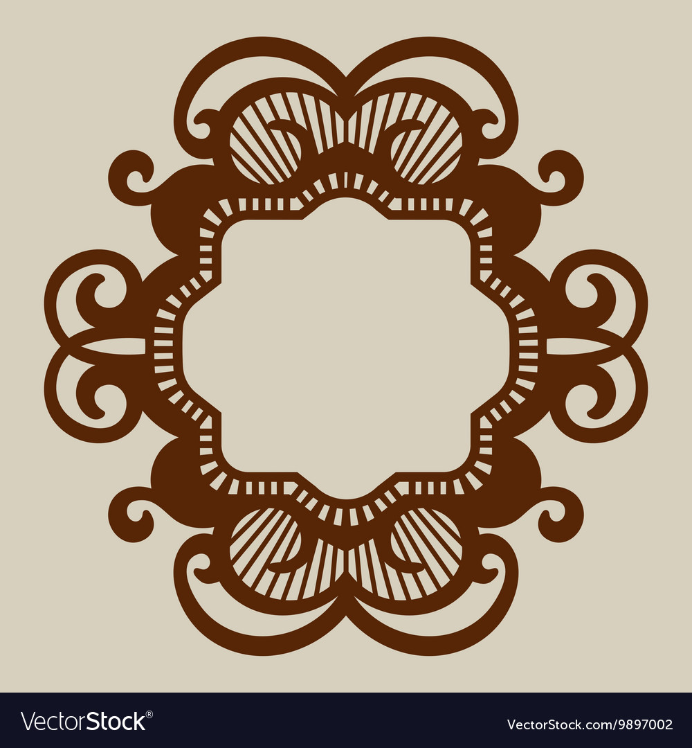 Template for laser cutting decorative panel vector