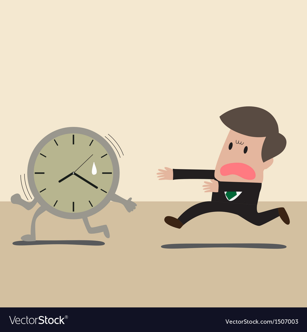 Businessman chasing a time vector